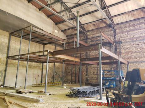 June 2, 2020  Structural steel progress (facing south).