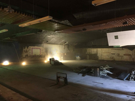 September 6, 2019:   Standing on the west side of the second floor bowling level (at the south extent of the theatre, at the balcony's edge). The second floor's bowling drop ceiling is visible.