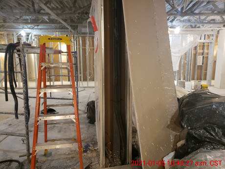 January 1, 2021  Suction and return lines installed inside the wall at the column between 206E and 206F.
