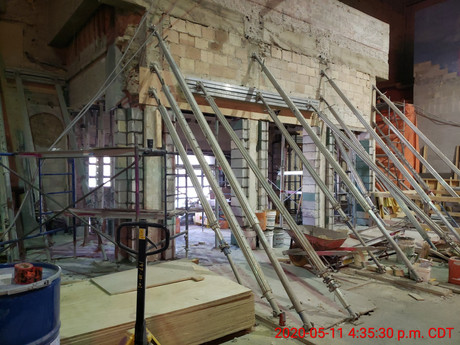 May 11, 2020  The lobby (north-facing towards Academy Road) with the shoring in place.