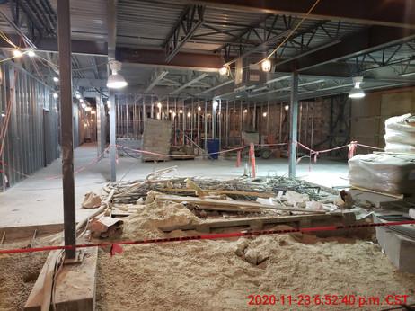 November 23, 2020  Main floor steel stud framing.
