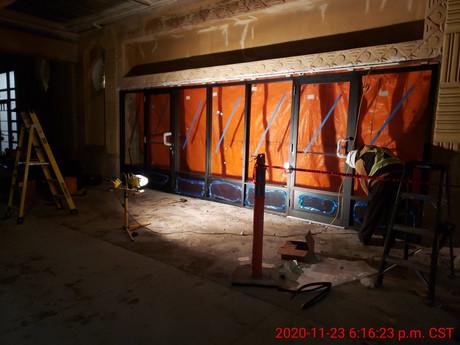 November 23, 2020  North elevation new door frame being installed.
