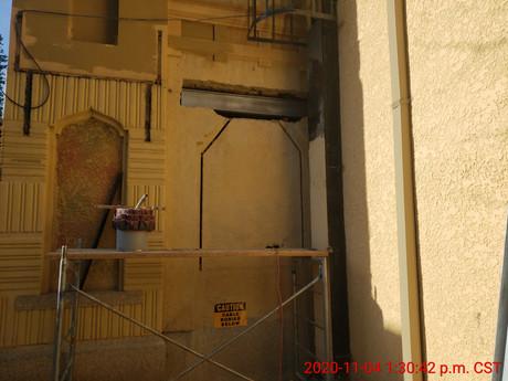 November 4, 2020  East elevation lintel installation
