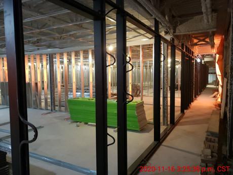 November 16, 2020  Second floor curtail wall frames installed.