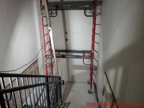 December 8, 2020  Stair #2 between intermediate landing and 3rd floor, facing west.