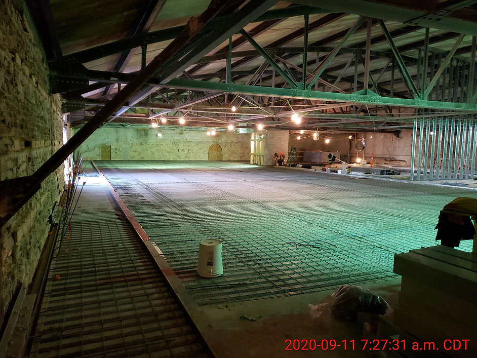 September 11, 2020  Third floor slab prepared for concrete with steel mesh.