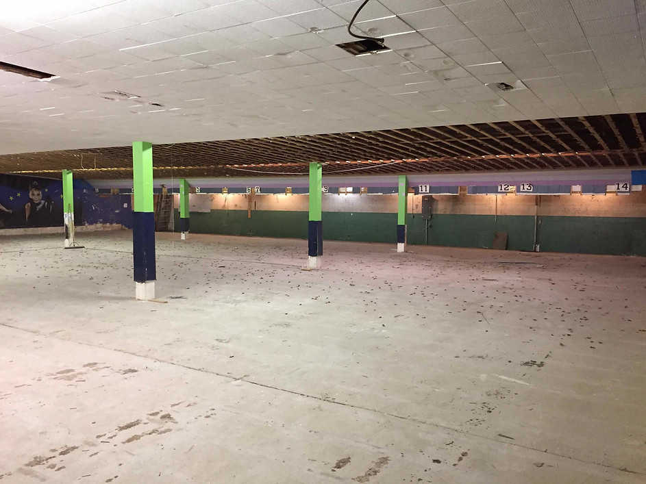 August 23, 2019:   The west side of the bowling lanes on the first floor facing south, before the second floor was removed.