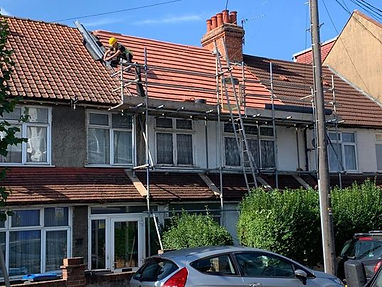 pitched roof repair scaffolding