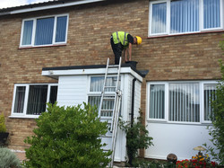 Flat roof and lead flashing