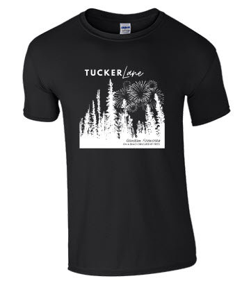T-Shirt: Random Fireworks on a Beach Obscured by Trees