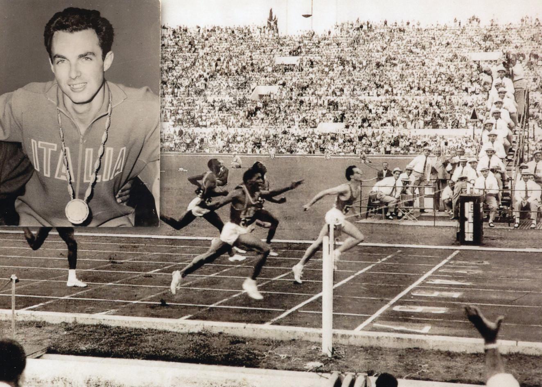 """Ore 18:00 del 3 Settembre 1960,  Berruti vince la finale dei 200 metri  uguagliando nuovamente il record del mondo in 20""""5, calzando scarpette italiane poco tecnologiche, ma di colore bianco."""