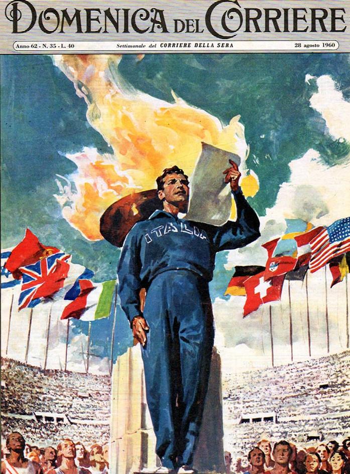 La copertina de La Domenica del Corriere sulle Olimpiadi di Roma.