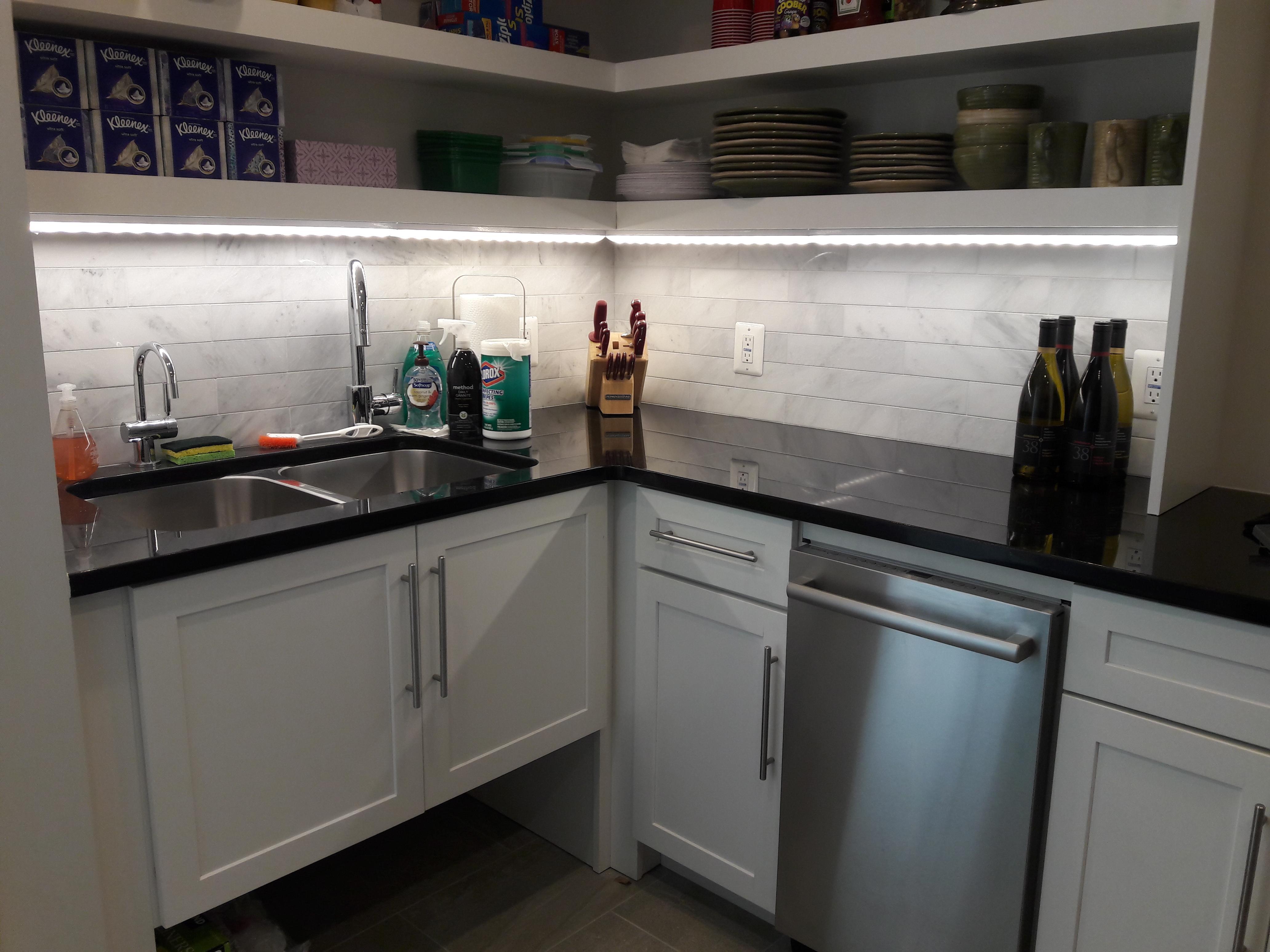 Basement kitchen counter after