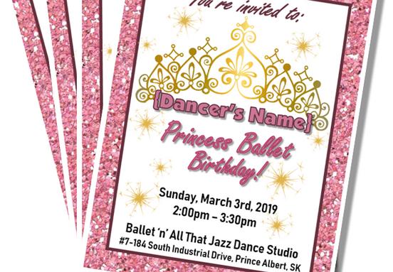 Princess Ballet Party Invitations
