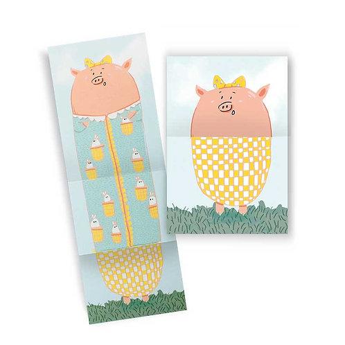 🇫🇷 Carte accordéon cochon - Agent Paper