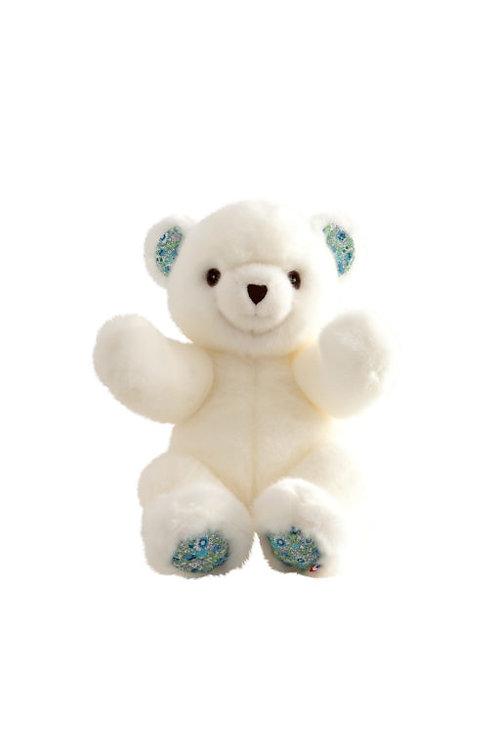 🇫🇷 Ours Robert – Blanc Liberty Bleu 30 cm - Pamplemousse peluches