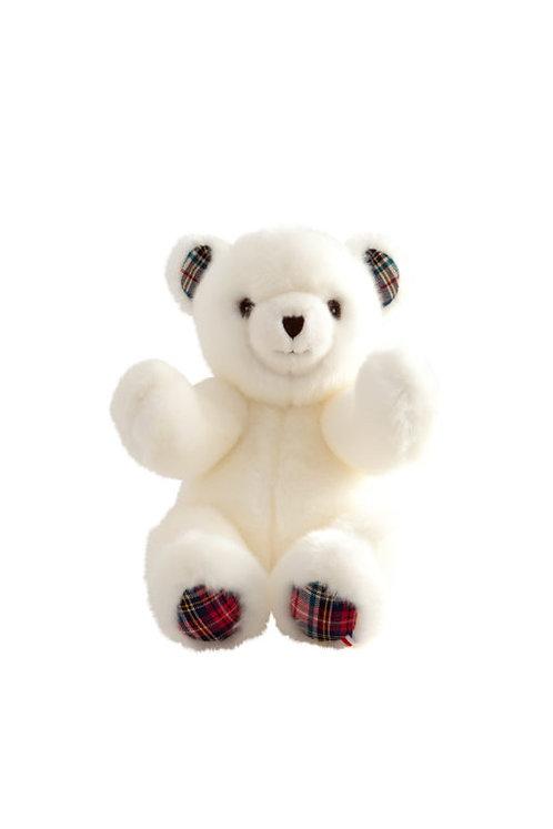 🇫🇷 Ours Robert – Blanc écossais 30 cm - Pamplemousse peluches