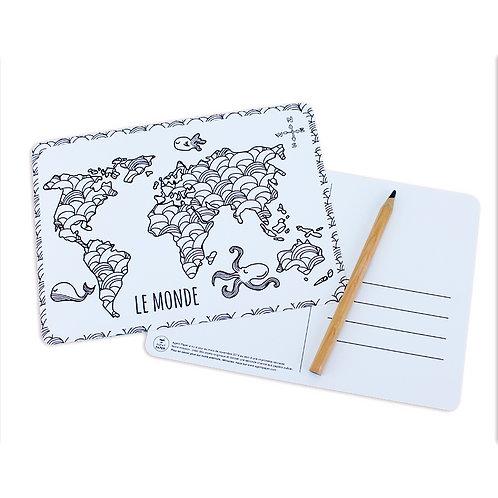 🇫🇷 Carte à colorier monde - Agent Paper