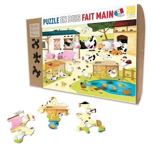 🇫🇷 Puzzle bois 12p La ferme - Michèle Wilson