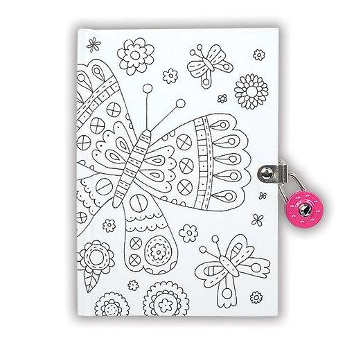 Journal intime à colorier papillon - Mudpuppy