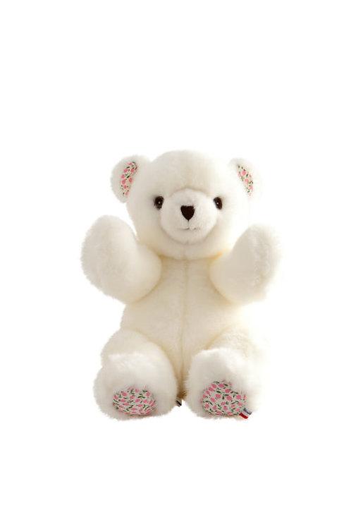 🇫🇷 Ours Robert – Blanc Liberty Rose 30 cm - Pamplemousse peluches