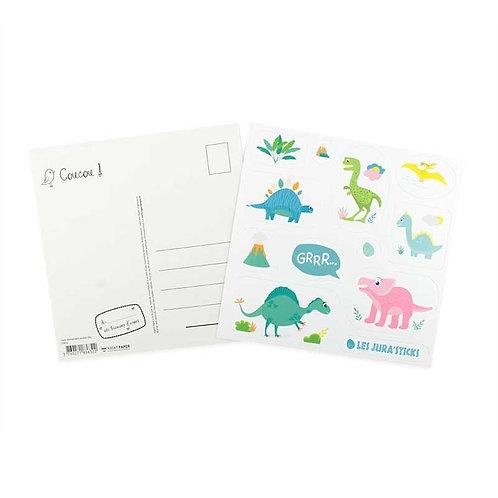 🇫🇷 Carte stickers anniversaire dinosaure  - Agent Paper