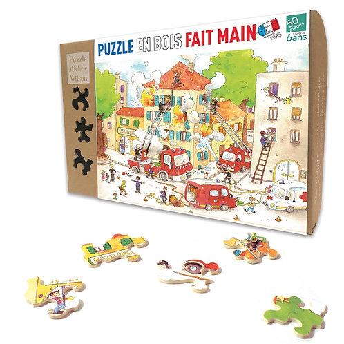 🇫🇷 Puzzle bois 50p Les pompiers - Michèle Wilson
