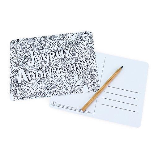 🇫🇷 Carte à colorier anniversaire - Agent Paper