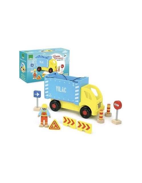 Camion porte-container avec accessoires de chantier