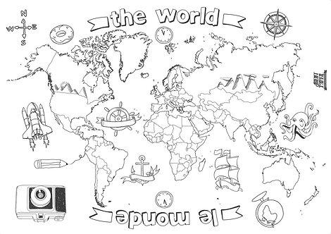 🇫🇷 Poster à colorier monde 1200x800mm - Agent Paper