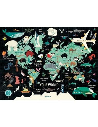 Puzzle monde 1000 pièces - Mudpuppy