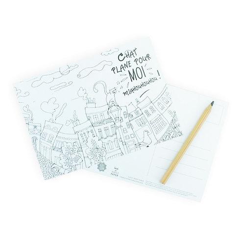 🇫🇷 Carte à colorier Chat - Agent Paper