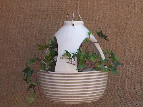 Vaso Suspenso para Plantas Colmeia Frisado Branco