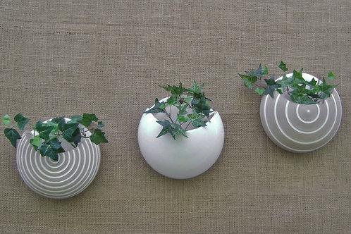 Conjunto vaso de parede para plantas lua branco