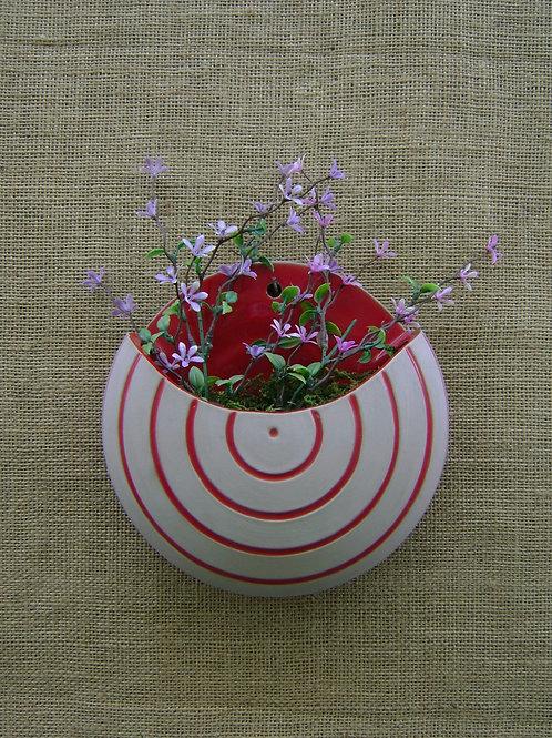Vaso de parede para plantas lua listrado vermelho