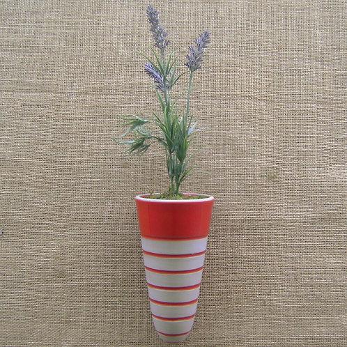 Vaso de parede para plantas cone listrado vermelho