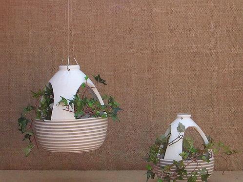 Conjunto Vaso Suspenso para Plantas Colmeia Frisado Branco