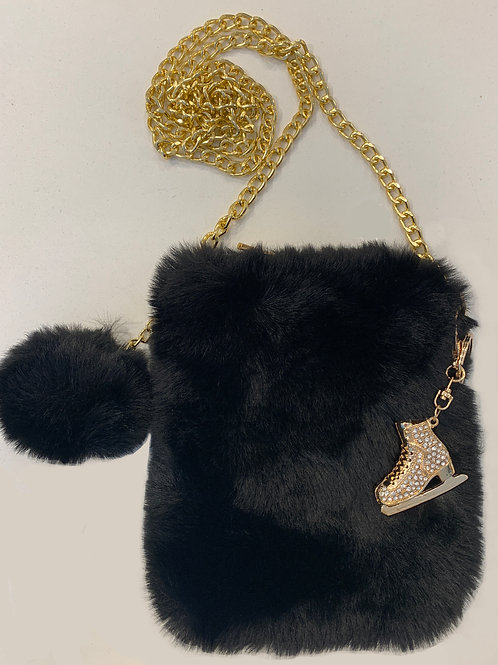 Black Faux Fur Cell Phone Bag