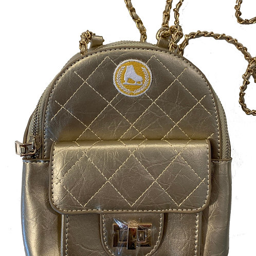 Metallic Gold Faux Leather Mini Backpack