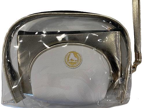 Metallic gold and white 3 piece bag set.