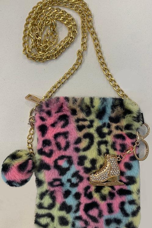Pastel Leopard Faux Fur Cell Phone Bag