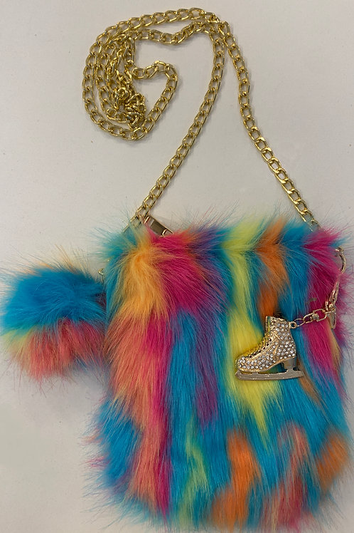 Multi Color Faux Fur Cell Phone Bag