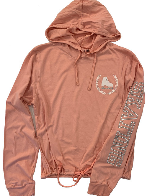 Long sleeve coral tee with hood.