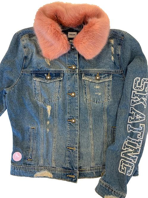 Distressed Denim Jacket with Pink Collar