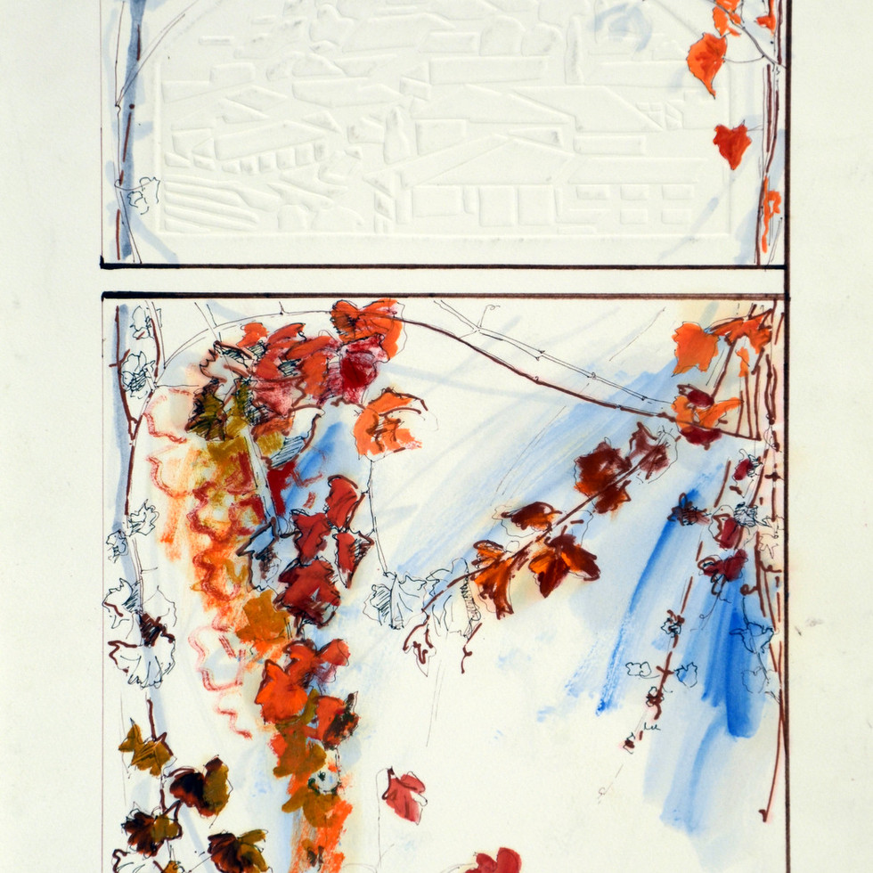 Ink and watercolour on embossed paper