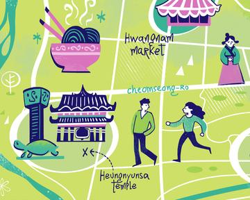 Gyeongju, South Korea: illustrated map