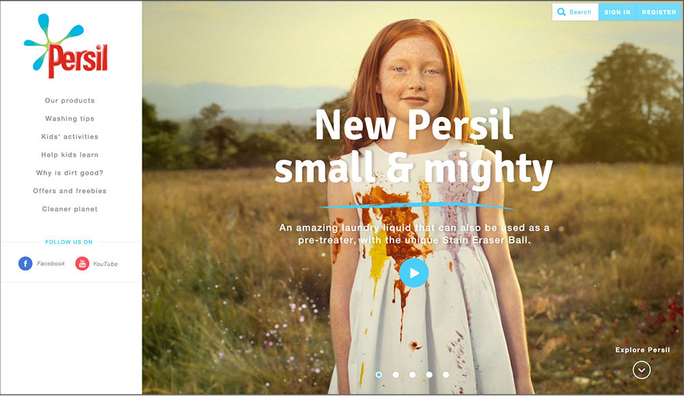 Persil web page with poor contrast white text over photograph