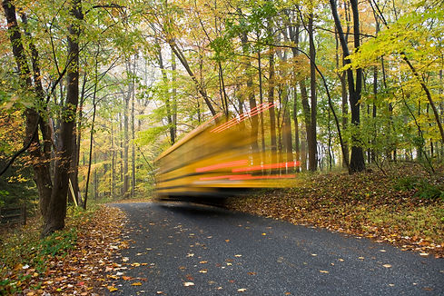 Yellow school bus time-elapsed photo