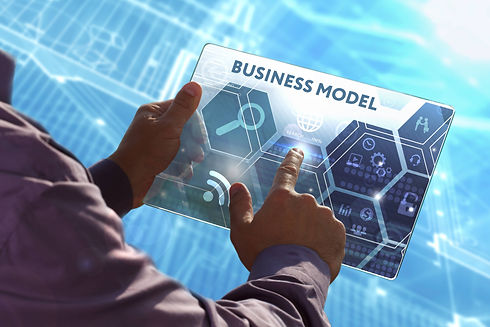 Man holding tablet saying Business Model