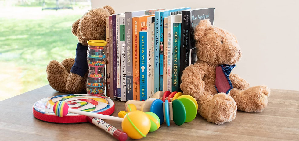 Teddy bears, books and shakers